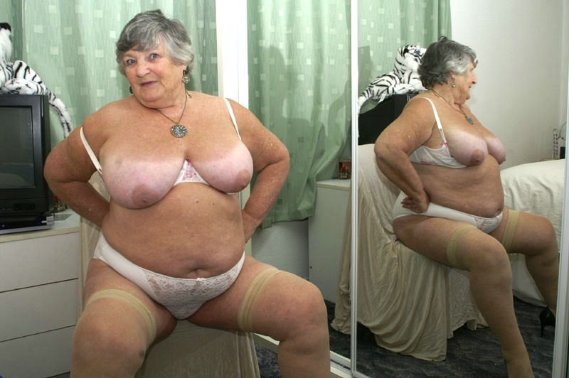 Fat granny in white cotton knickers