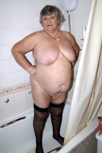 Fat granny showering nude