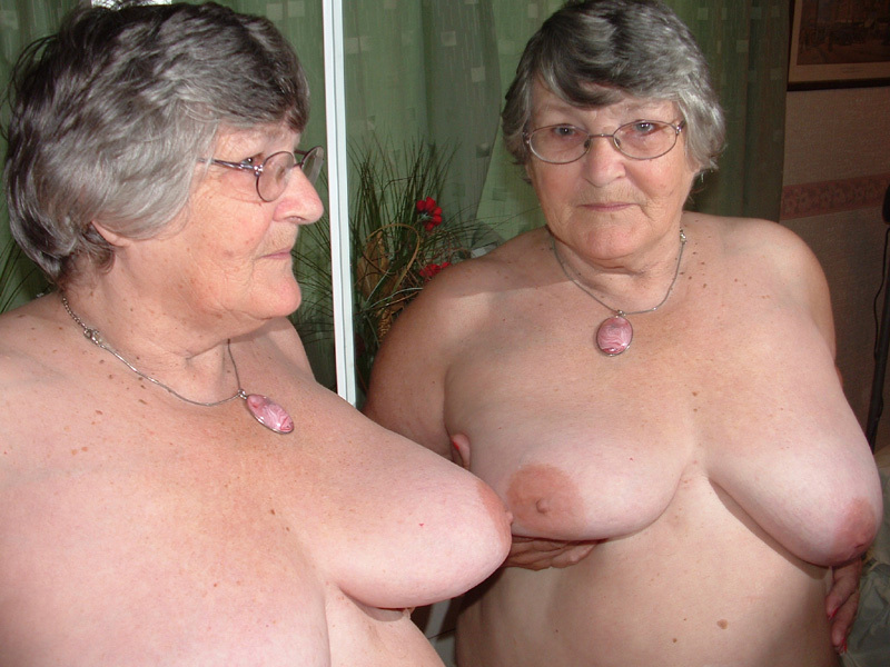 Grandma nude in the mirror