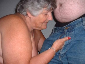 Grandma sucking & wanking a cock
