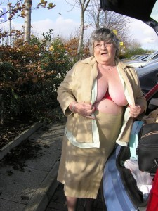Granny flashing knickers on a car park
