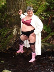Granny in wellies & black stockings