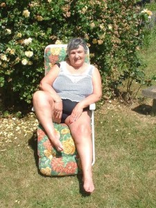 Sexy fat granny naked in the garden