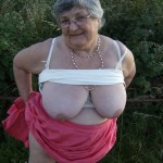 Granny flashing outdoors